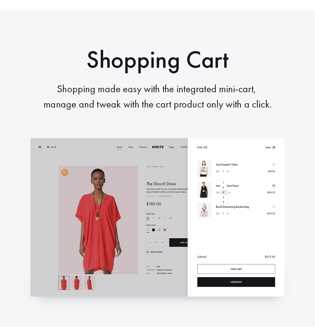 Konte WordPress theme with shopping cart