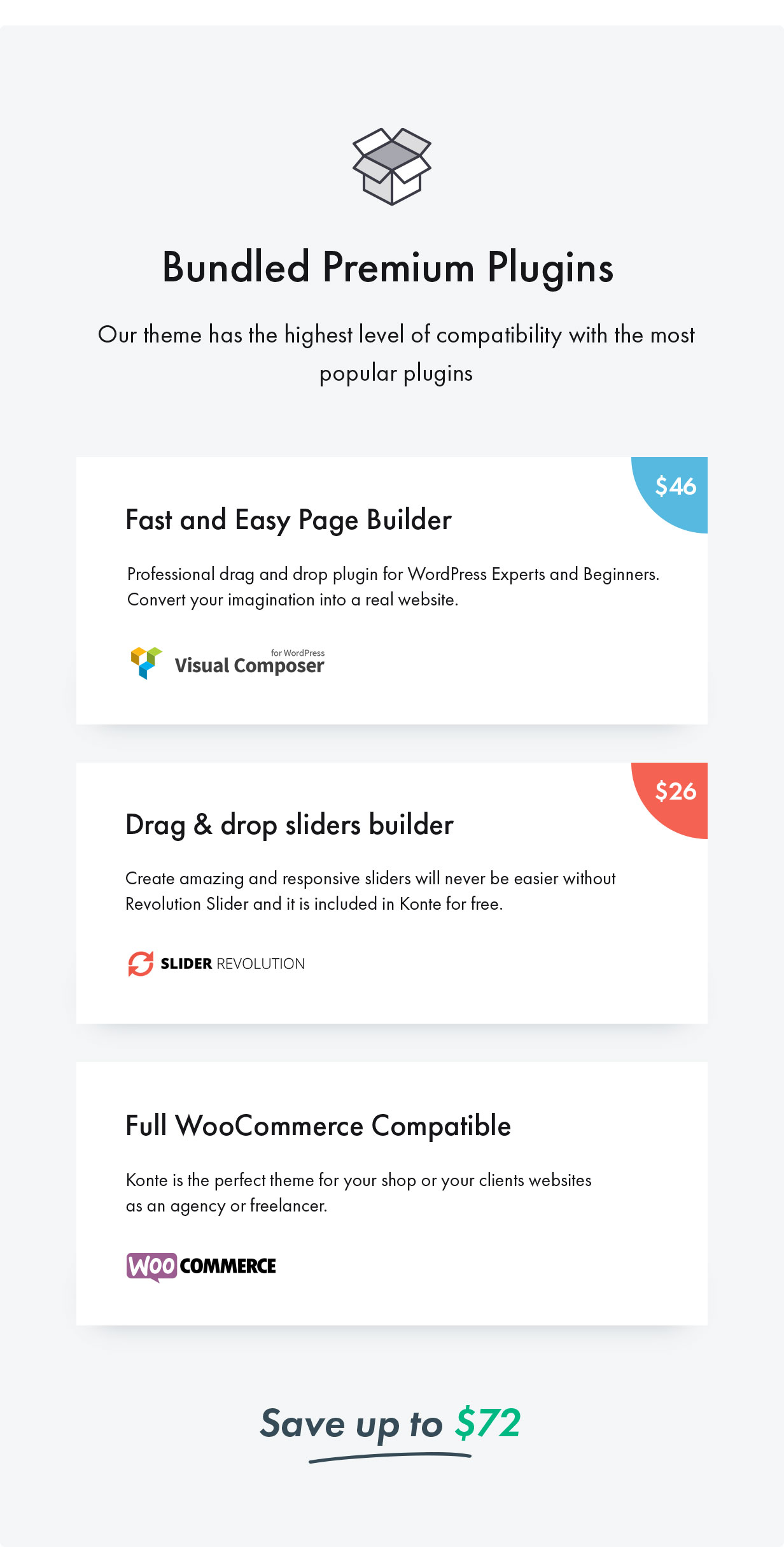 Konte WordPress theme - supported plugins