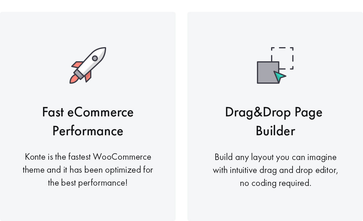 Konte WooCommerce theme - Fast & Performance with dragable builder